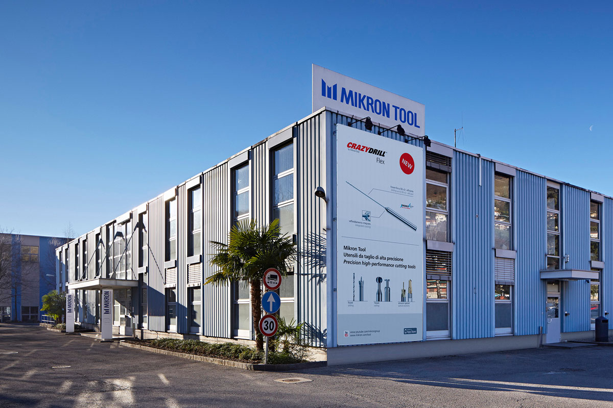 Mikron Tool Headquarter in Agno (Switzerland) with production, Technical support, R&D, Sales, stock.