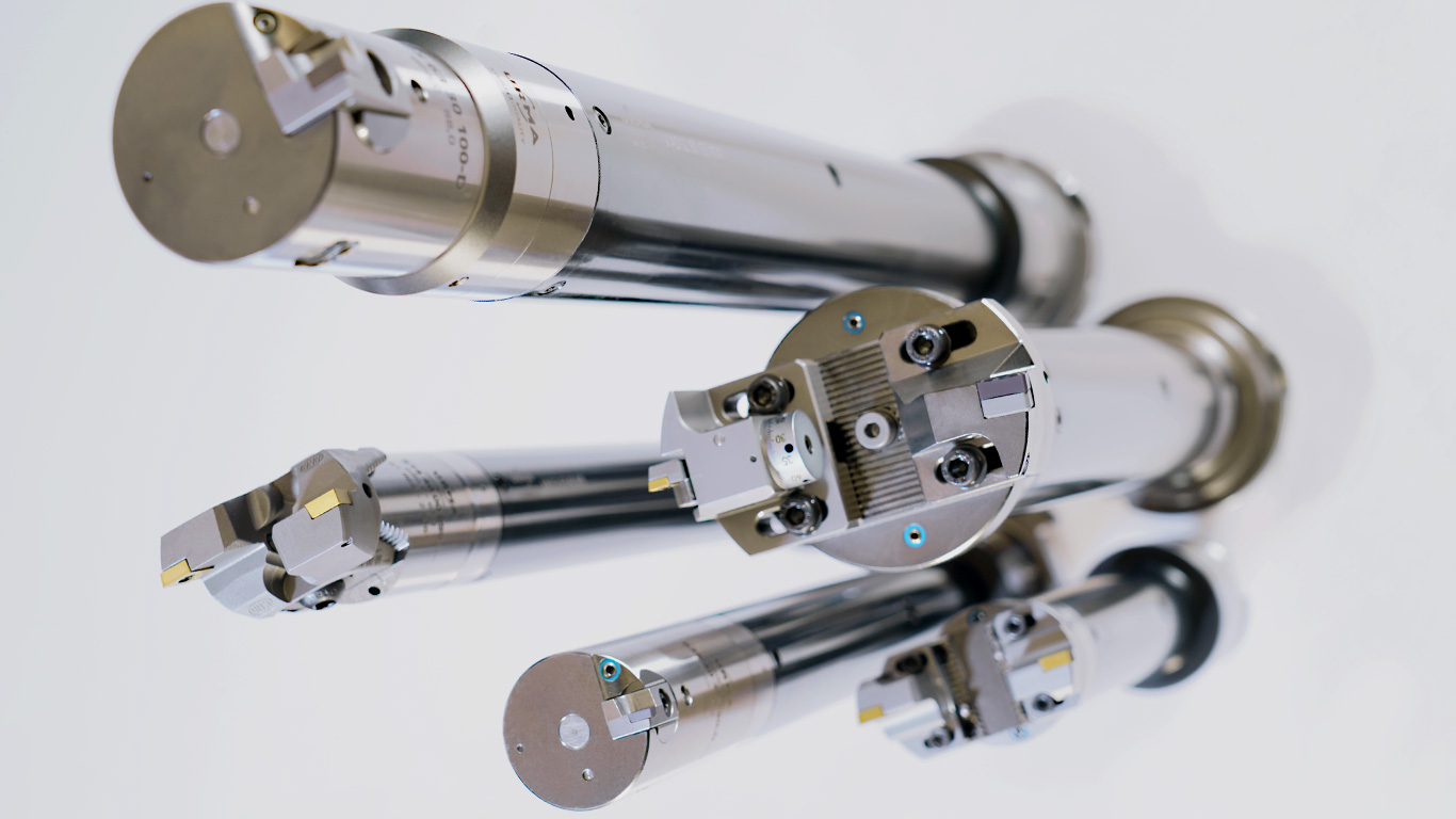 <b>Vibration Absorbing System</b><br/>The unique vibration damped system which is modular throughout. This results in unlimited possibilities of tool combinations and enables vibration-free machining in the area of milling, drilling as well as boring and fine boring, with projection lengths up to 11xD.