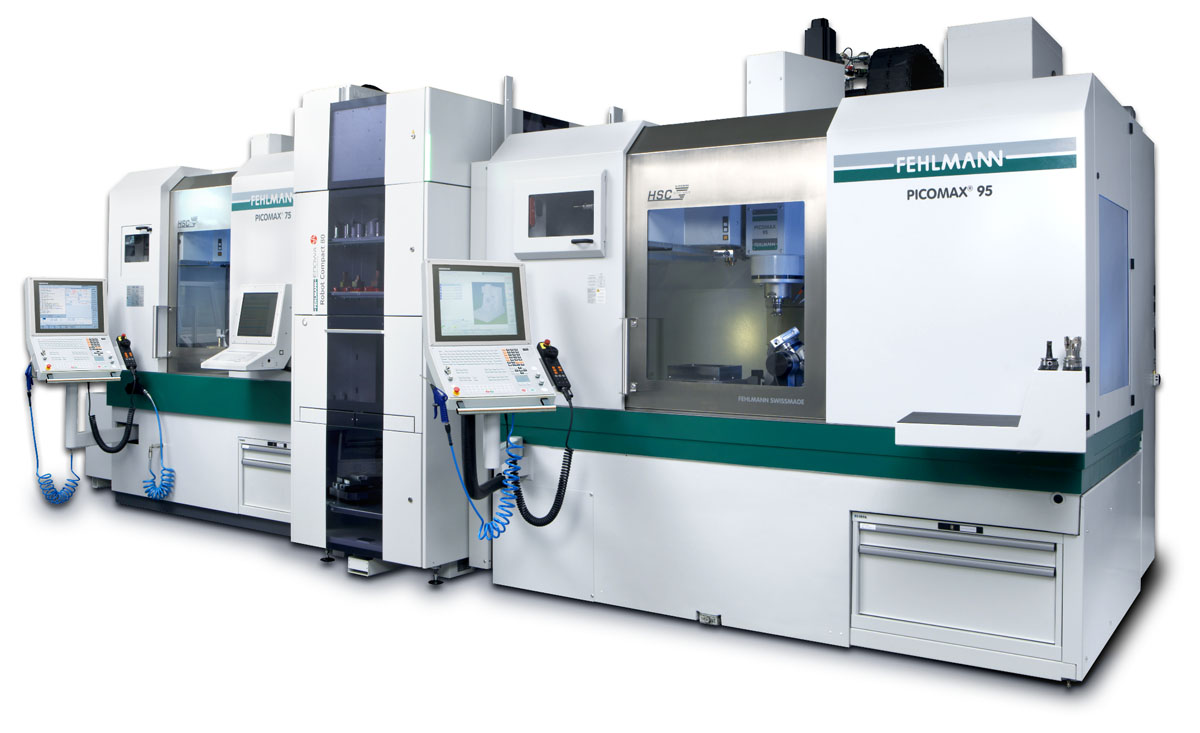 Two machines automation solution: machining centers PICOMAX 95 and PICOMAX 75 with automation ERC80