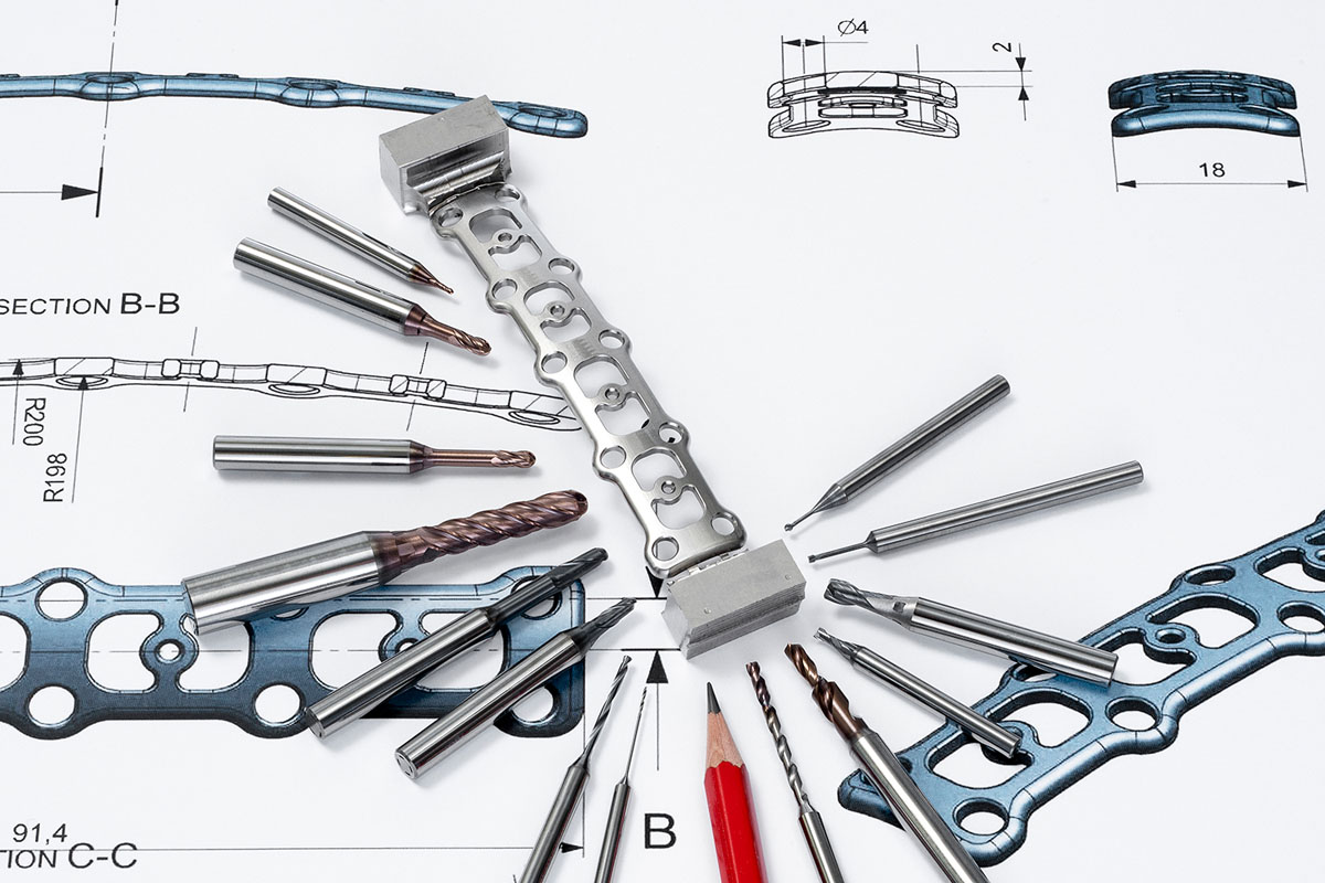 Cutting tools for medical devices in Stainless steel, Titanium or CrCo-alloys.