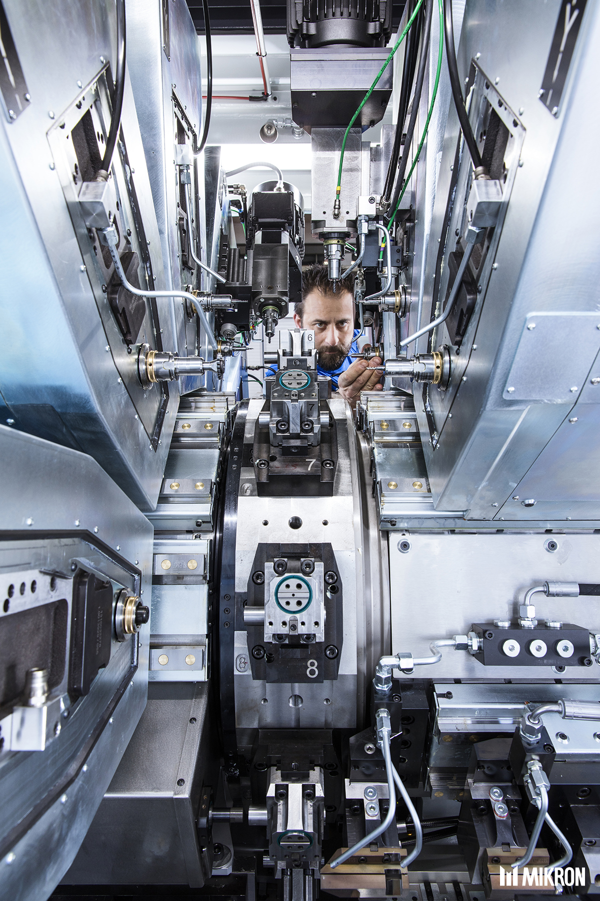<b>Mikron VX</b><br/>Machining on 6 sides, from bar,wire or blank. Full CNC high-precision rotary transfer machinewith10 or 12 workstations forvariable production batch sizes